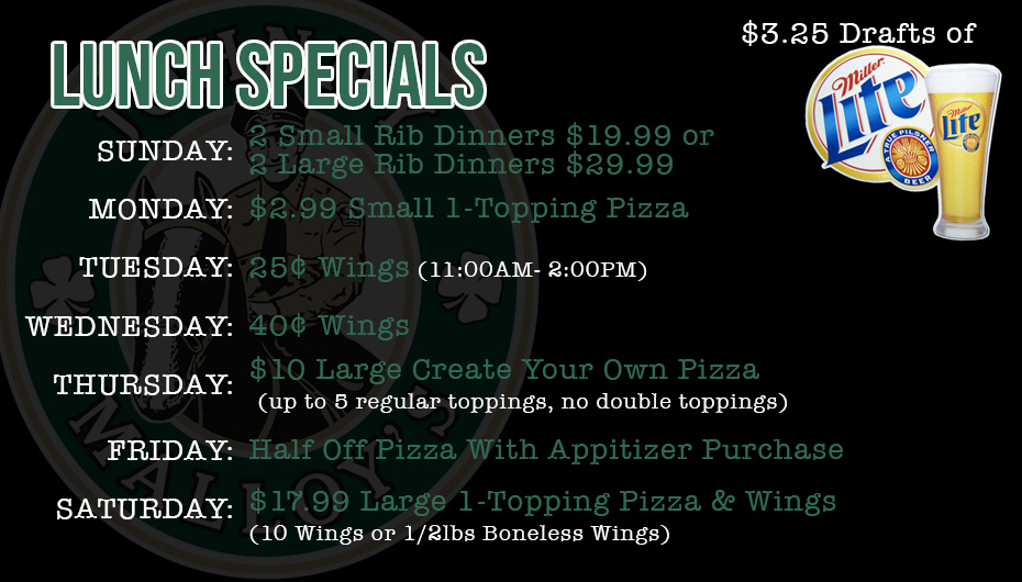 Johnny Malloy's Weekly Lunch Specials